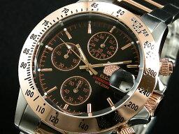 エルジン 腕時計(メンズ) エルジン ELGIN ダイバーズ 腕時計 クロノグラフ メンズ FK1184PG-B ピンクゴールド×シルバー メタルベルト