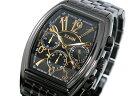 エルジン 腕時計(メンズ) エルジン ELGIN トノー 腕時計 クロノグラフ メンズ FK1215B-B ゴールド×ブラック メタルベルト