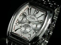 エルジン 腕時計(メンズ) エルジン ELGIN トノー 腕時計 クロノグラフ メンズ FK1215S ホワイト×シルバー メタルベルト