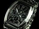 エルジン 腕時計(メンズ) エルジン ELGIN トノー 腕時計 クロノグラフ メンズ FK1215S-B ブラック×シルバー メタルベルト
