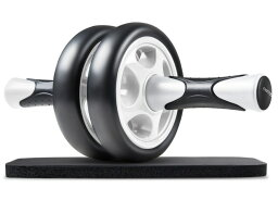 スリムトレーナー アブホイール エクササイズウィル FREETOO 腹筋ローラー エクササイズローラー 超静音 厚いマット付き (ブラック+ホワイト) スリムトレーナー 超静音 腹筋ローラー エクササイズローラー 膝を保護するマット付き