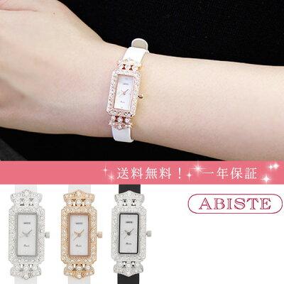 ABISTE(アビステ) スクエアフェイス スワロフスキーエレメンツ 腕時計 9170017 レディース 女性 人気 雑誌 大人 おしゃれ 腕時計 ブランド ギフト ウォッチ ラッピング無料 30代 40代