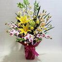 ジンビジューム 造花アーティフィシャルユリとシンビジュームと胡蝶蘭のアレンジ高さ85cm×巾55cm造花・光触媒
