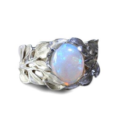 ホワイトオパール ブルームーンストーン リング 指輪 ハワイアンジュエリー レディース 女性 メンズ 男性 (Weliana)神秘的な宝石の煌めきをマイレがそっと包みこむ 神聖な マイレ リーフ シルバーリング wn-ri012svm