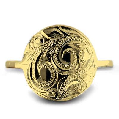 リング 指輪 ハワイアンジュエリーレディース 女性 (weliana) K18 18k 18金 ゴールド ラウンド スクロール ゴールドリング イエローゴールド コイン モチーフ wri1230