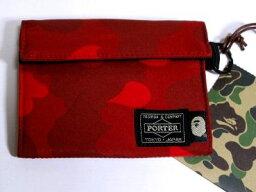 PORTER 財布(レディース) APE × ポーター 迷彩 財布 赤