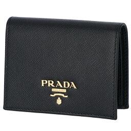 プラダ 財布(レディース) プラダ PRADA サフィアーノ 財布 二つ折り レディース ミニ財布 二つ折り財布 ブラック 1MV204 QWA 002