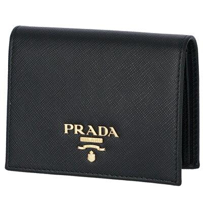 プラダ PRADA サフィアーノ 財布 二つ折り レディース ミニ財布 二つ折り財布 ブラック 1MV204 QWA 002