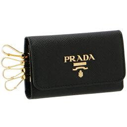 プラダ キーケース プラダ PRADA 2020年春夏新作 キーケース 4連 レディース サフィアーノ ブラック 1PG004 QWA 002