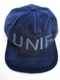 ユニフ UNIF/ユニフベルベットキャップ blue