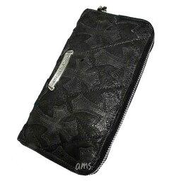 クロムハーツ クロムハーツ 財布(Chrome Hearts)REC・F・ZIP#2・キルティングセメタリークロスブラックデストロイレザー(メンズ)(クロム・ハーツ)(長財布)