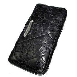 クロムハーツ クロムハーツ 財布(Chrome Hearts)REC・F・ZIP#2・キルティングセメタリークロスブラック・ライトレザー(メンズ)(クロム・ハーツ)(長財布)