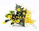 黄 【送料無料】【お中元・サマーギフト】爽やかな黄色の花束 カラーと黄バラ、オンシジウム