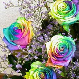 サプライズフラワー 送料無料 虹色のバラレインボーローズミラクル【10本の花束】結婚祝い 結婚記念日