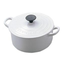 ルクルーゼ 鋳物ホーロー鍋 【送料無料】ルクルーゼ(ル・クルーゼ) ココットロンド 2501 20cm ホワイト (LE CREUSET)