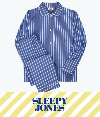 【期間限定送料無料!】SLEEPY JONES / スリーピージョーンズ : 【レディース】Bishop Pajama Set-Tie Stripe Blue & White : スリーピージョーンズ パジャマ パンツ ルームウェア ストライプ 18SS 18春夏 レディース : SS18-WS006-F1031-403【DEA】