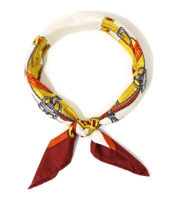 【SPECIAL PRICE!】manipuri / マニプリ : <Silk scarf(65cm×65cm)>-belt- : シルクスカーフ バンダナ シルクハンカチ ベルト柄 レディース : Silk-scarf-belt【ANN】