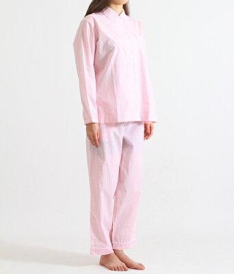 【サマーキャンペーン!】SLEEPY JONES / スリーピージョーンズ : 【レディース】Bishop Pajama Set-Small Gingham Pink : パジャマ パンツ ルームウェア ギンガムチェック 18SS 18春夏 レディース : SS18-WS006-F1303-661 【DEA】