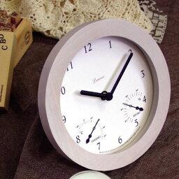 温湿時計 温湿度計 アナログ 木製 レトロ 湿度 時計 ウッド温湿時計 卓上時計 温度 置時計 置き時計 ステップムーブメント おしゃれ 卓上 ウッド 木 温度計 湿度計 スタンド ホワイト ナチュラル スヌーズ 電子音 タカタレムノス Lemnos レムノス ミニヨン Mignon PC07-08