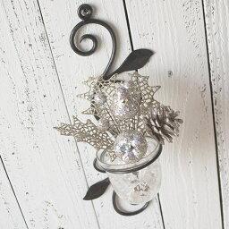 ポット アイアン 壁掛け 壁飾り 花瓶 花びん 花ビン 花器ガラスベースガラスカップ アートフラワーアイアンウォールデコ フラワースタンドフラワーポット キャンドルホルダー壁掛けミニフラワーベース 1グラス クリスマスセット B(氷のイミテーション付き)