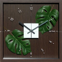 モンステラクロック 壁掛け時計 掛け時計 ウォールクロック アートフラワークロック 電波時計ではありません おしゃれ シンプル 北欧 木製 かわいい 造花 デザイナーズ アンティーク モダンリーフクロック モンステラ アダンソニー