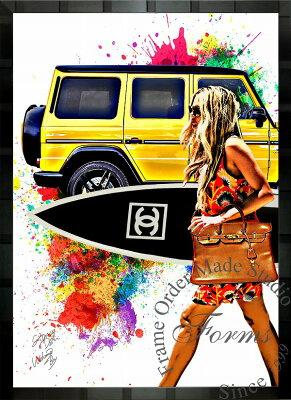 絵画 インテリア ブランドオマージュアート/スターデザイン「ベンツ/ゲレンデ×シャネル/サーフィンb」A1ポスター