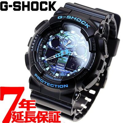 【今がお得!最大ポイント28倍!さらに最大1万円OFFクーポン配布!】G-SHOCK ブラック×ブルー カモフラージュ アナデジ 腕時計 メンズ GA-100CB-1AJF