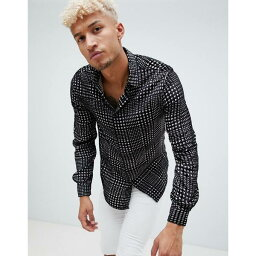 エイソス エイソス メンズ シャツ トップス ASOS DESIGN regular fit dogtooth velvet burnout check shirt Black