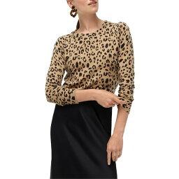 ジェイクルー ジェイクルー レディース ニット&セーター アウター J.Crew Leopard Print Long Sleeve Everyday Cashmere Crewneck Sweater (Regular & Plus Size) Hthr Camel Mod Leopard Print