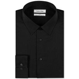 カルバン・クライン カルバンクライン メンズ シャツ トップス Men's Slim Fit Non Iron Performance Herringbone Point Collar Dress Shirt Black