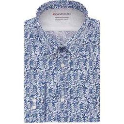 カルバン・クライン カルバンクライン メンズ シャツ トップス Men's Extra-Slim Fit Performance Stretch Temperature Regulation Geo-Print Dress Shirt Blue