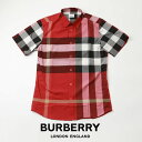 【2021 SUMMER クリアランス】BURBERRY バーバリーストレッチ チェック シャツ 半袖 Short-sleeve Check Stretch Cotton Poplin Shirt PARADE RED 8020856-red