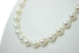 パールネックレス(レディース) 真珠 パール ネックレス あこや真珠 パールネックレス 8mm-8.5mm ホワイトピンクカラー バロックパール シルバー アコヤ本真珠 カジュアル