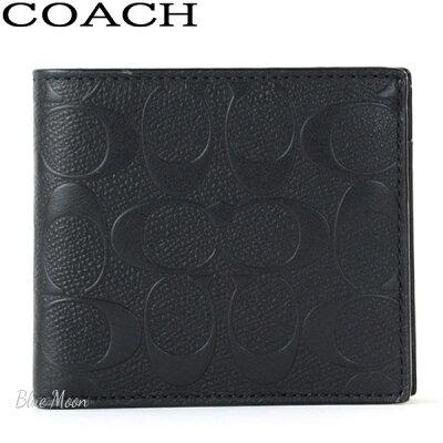コーチ COACH 二つ折り財布 メンズ レザー ブラック アウトレット F75363 BLK