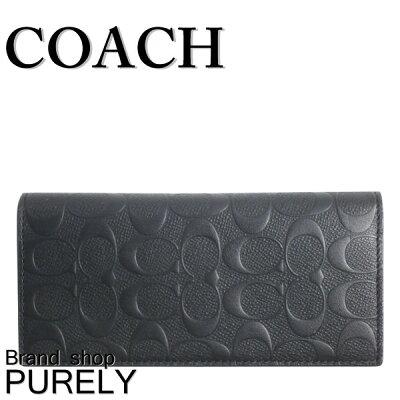 【全商品ポイント2倍】コーチ COACH 財布 二つ折り財布 メンズ アウトレット レザー シグネチャー カーフ F75365 BLK コーチ COACH メンズ