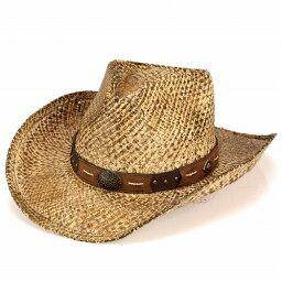 テンガロンハット ハット メンズ 帽子 レディース ヘンシェル カウボーイ ラフィア コンチョ付 ウエスタンハット レザーベルト ナチュラル HENSCHEL(テンガロン ウェスタンハット カウボーイハット ウエスタン 紳士帽子 テンガロンハット 40代 50代 60代 ファッション メンズハット ぼうし)