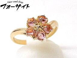 4℃ 指輪 12号 新品同様 4℃ ヨンドシー☆K18 YG イエローゴールド ピンクトルマリン フラワー デザイン リング 指輪□1I