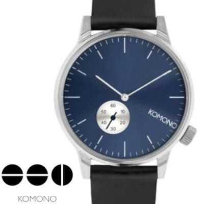 【送料無料】【komono コモノ】WINSTON SUBS ウィンストンサブス 腕時計 うでどけい レディース メンズ ネイビー 時計 レザーベルト