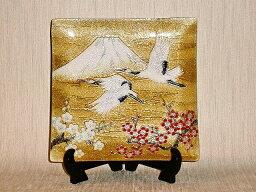 七宝焼 鶴富士 七宝焼 飾皿 梅と富士鶴