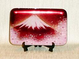 七宝焼 赤富士 七宝焼 飾皿 赤富士桜
