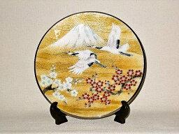 七宝焼 鶴富士 七宝焼 飾皿 9丸 梅に富士鶴