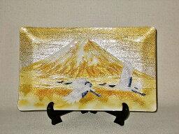 七宝焼 鶴富士 七宝焼 飾皿 5×8 富士に鶴