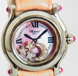 ハッピースポーツ 腕時計 ショパール ハッピースポーツ ムーン ダイヤ スター ピンクシェル 質屋出品 送料無料