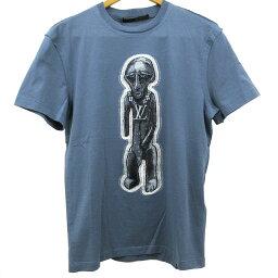 ルイヴィトン ルイ ヴィトン Tシャツ 半袖 サイズXXS 160 ブルー 刺繍 コットン 綿 フィット 薄手 古着 未使用 LOUIS VUITTON LV ZULU STATUE GRIS BLEU メンズ レディース