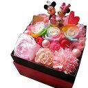 ディズニープリザーブドフラワー 誕生日プレゼント ディズニー フラワーギフト 箱開けてスマイル ボックス入り レインボーローズ プリザーブドフラワー入り バースデー ミッキー ミニーA