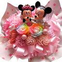 ディズニープリザーブドフラワー ホワイトデー お返し 花 プレゼント ディズニー フラワーギフト レインボーローズ プリザーブドフラワー ミッキー ミニー ウェディングドール ケース付き ミッキーマウス ミニーマウス