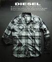 ディーゼル 6135新品★ディーゼル DIESEL★デザインチェックシャツ2614★カーキ系★XL★MENS★