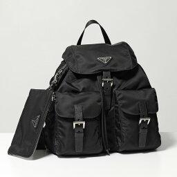 プラダ PRADA プラダ 1BZ811 V44 F0002 ナイロン リュック バックパック バッグ ポーチ付き 三角ロゴ金具プレート NERO 鞄 レディース
