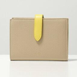 セリーヌ 財布(レディース) CELINE セリーヌ 10B64 3BRU Midium Strap Wallet ストラップ レザー 二つ折り財布 ミディアム 03NR/Nude-Citron レディース