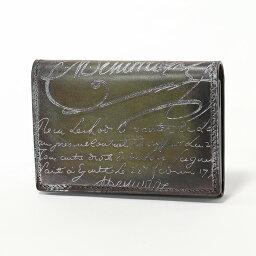 ベルルッティ Berluti ベルルッティ IMBUIA レザー 二つ折り 名刺入れ カードケース シルバーパティーヌ NERO-CAVIAR/SILVER メンズ